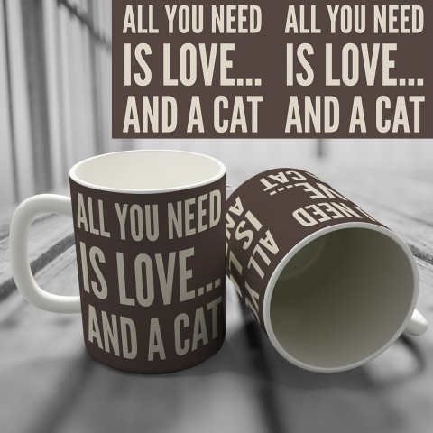 "Кружка ""All you need is love... and a cat"" купить за 8.50"