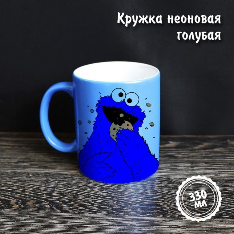 Неоновая кружка голубая