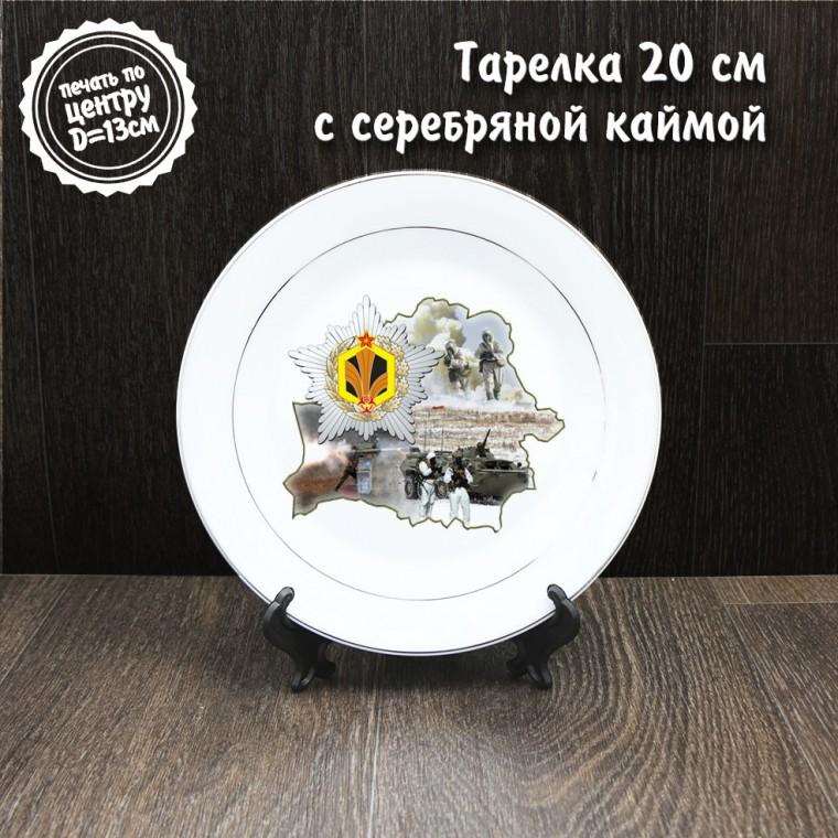 Тарелка 20 см с серебряной каймой