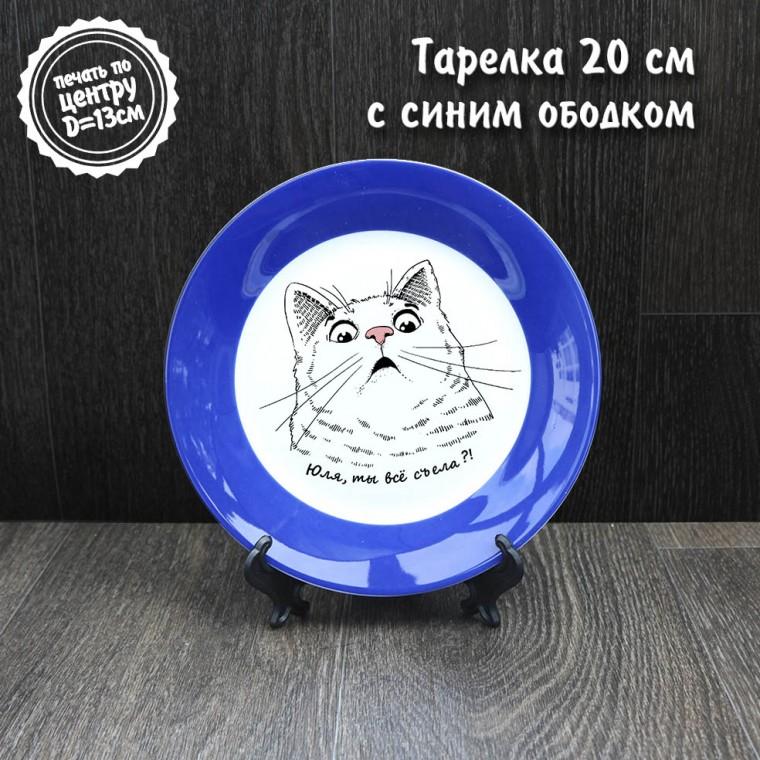 Тарелка 20 см синим ободком